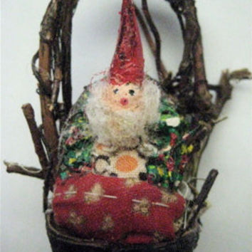 "Primitive Folk Art Storybook Gnome-""Tiny Gnome in a Nutshell Basket""-- Original Design Handcrafted  Ornament"