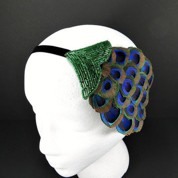 Art Deco Headpiece Great Gatsby 20s Flapper Daisy Buchanan Costume Bridesmaid Gifts Peacock Feather Green Beaded Fascinator Ribbon Headband