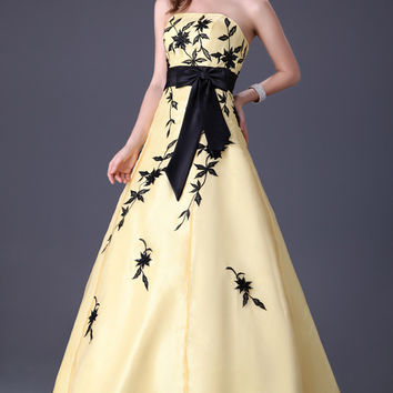Yellow with Black Prints Ribbon Strapless Quinceanera Dress