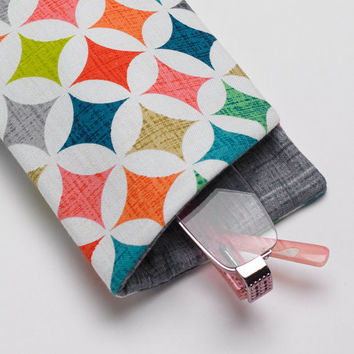 Sunglasses Case, Eyeglass Case, Glasses Case in Bright Geometric Fabric