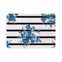"NL Designs ""Blue Floral Strips"" Black White Memory Foam Bath Mat"