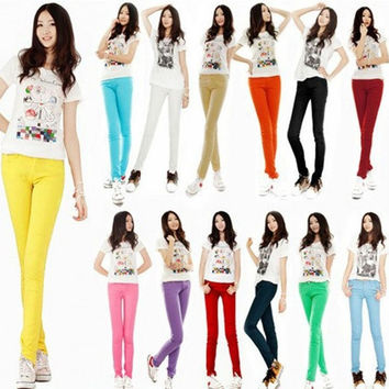 Candy Color Womens Stretch Pencil Pants Casual Slim Skinny Jeans Trouser = 1958654660