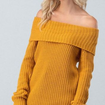 Off Shoulder Cable Knit Sweater - Mustard