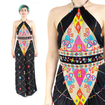 70s Oleg Cassini Dress Halter Maxi Dress Psychedelic Maxi Dress Hearts Floral Pop Art Print Dress Backless Dress Summer Festival Dress (XS)