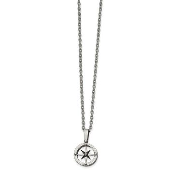 Stainless Steel Polished Black IP-plated Moveable Compass Necklace 20in