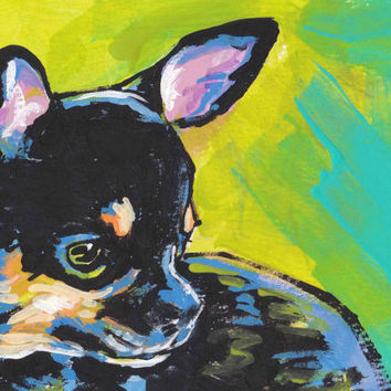 "black and tan Chihuahua modern Dog art print pop dog art bright colors 13x19"" LEA"