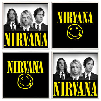 Nirvana coasters, Music coasters, ceramic tiles, Nirvana home decor, novelty coasters, Kurt Cobain, manly coasters, rock band, rock music