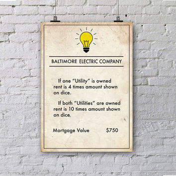 Monopoly inspired Baltimore Electric Company Poster, Board Game Print, Office Decor, Wall Art Print, Wall Decor, Maryland Print