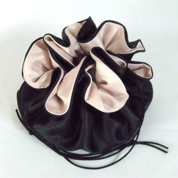 Wedding Bag Satin Bridal Money Purse  Black and Champagne No Pockets