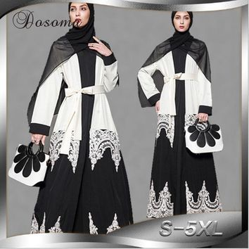 Elegant Muslim Women Abaya Lace Cardigan Embroidery Maxi Dress Tunic Robe Jalabiya Patch Loose Middle East Arab Islamic Clothing