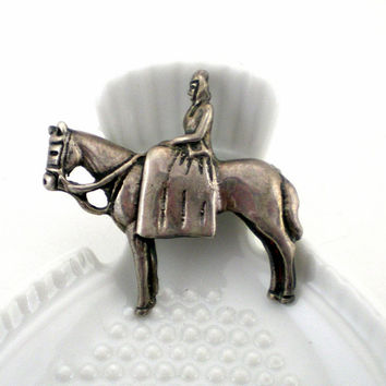 Vintage Sterling Silver Lady And Horse Iconic Brooch Pin