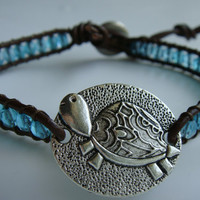 Sea Turtle Turquoise Glass Bead and Leather Bracelet