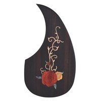 """Wooden Guitar Pickguard Pick Guard for 40"""" 41"""" Acoustic Guitars Ebony Wood with Decorative Flower Pattern Guitar Parts"""