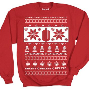 Doctor Who Logo with Daleks & Villians Ugly Christmas Pattern Sweatshirt
