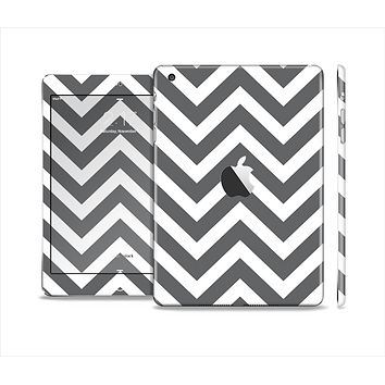 The Sharp Gray & White Chevron Pattern Skin Set for the Apple iPad Mini 4