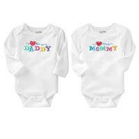2pcs New 2016 Baby Fashion Newborn Baby Girls Boy Long Sleeve Love Printed Summer Body Rompers Outfits Clothes