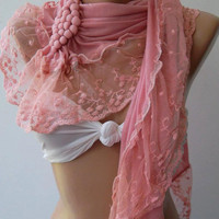 Pink  // Elegance  Shawl / Scarf with Lacy Edge---