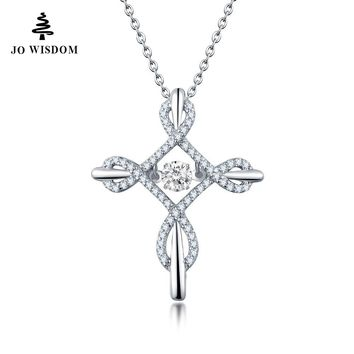 100%  925 Sterling Silver Pendant with Dancing Stone with Natural Topaz Cross Pendant Necklace Jewelry