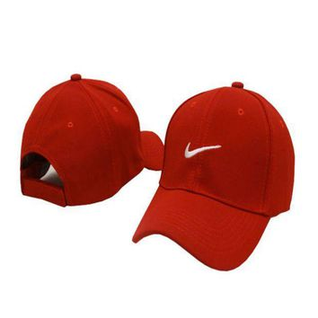 PEAPDQ7 Red Nike Embroidered Unisex Adjustable Cotton Sports Cap Hat
