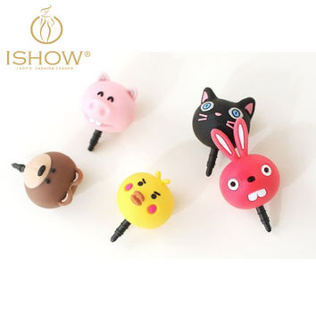 5pcs/lot Cute Cartoon Animals Silicone Colorful Mobile Phone Dust Plug Phone Accessory Cellphone Decoration