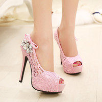 Sexy Hollow Out Diamond High Heels Shoes
