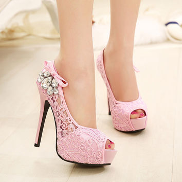 Sexy hollow out diamond high heels