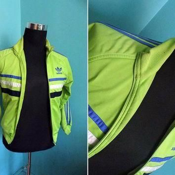 90s Lime Green Adidas Juniors Tracksuit Top Blue Three Stripes Trefoil Retro Sports Ni