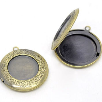 DoreenBeads Antique Bronze Picture/Photo Locket Frame Pendants 32mm,sold per pack of 10