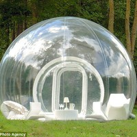 Camping with a view: See through bubble tent!