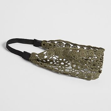 crocheted headwrap in olive green | maurices