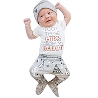 Newborn Baby Boy Girl Clothes Unisex Baby Kids Cotton White Short Sleeve T-Shirt+Long Pants+Hat 3pcs Suit