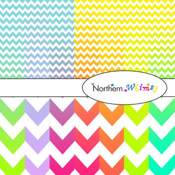 Digital Scrapbooking Paper Background Set – multi-color ombre package in large and small chevron (zig zag stripe) patterns INSTANT DOWNLOAD