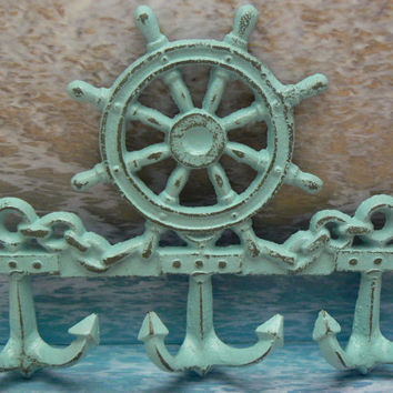 Nautical Helm Ships Steering Wheel Anchor 3 Hook Wall Decor Beach Blue Distressed Jewelry Leash Scarf Hooks