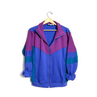 Retro Track Jacket 80s Colorblock Zip Up Sweatshirt Purple Hipster Raglan Sleeve Pink Blue 1980s Sport Vintage Medium Large