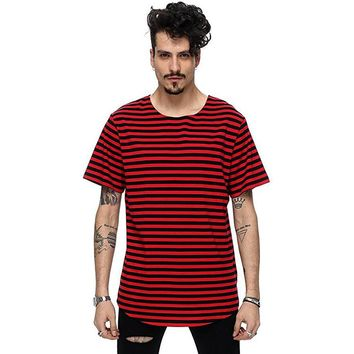 Hip hop t-shirt men striped extended t-shirt oversized streetwear
