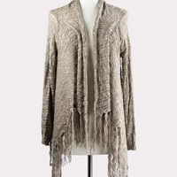 Fringe Benefits Sweater in Taupe