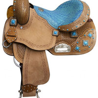 Saddles Tack Horse Supplies - ChickSaddlery.com Double T 12 Inch Youth/Pony Barrel Saddle With Turquoise Stone Conchos And Gator Print Seat