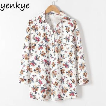 Women Floral Printed Blouse Shirt Long Sleeve V Neck Pullover Autumn Loose Casual Blouse