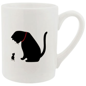 Cat Staring At Mouse Prints Coffee Mug
