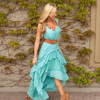 Country Club Ruffle Lace Dress Tiffany Blue.