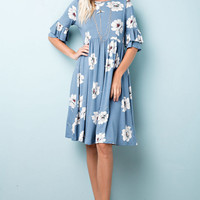 Blue Floral Jersey Dress with Ruffle Sleeve Details