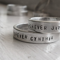 Wedding Band Set - Rustic personalized wedding rings