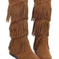 Brown Suedette Tassel Detail Wedge Knee High Boots