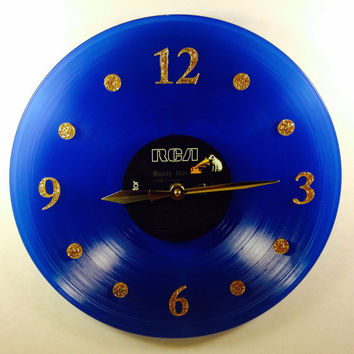 "Vinyl Record Clock, Wall Clock, Elvis Blue Record, Recycled Music Record, 12"" Record, Battery & Wall Hanger included, Item #11"