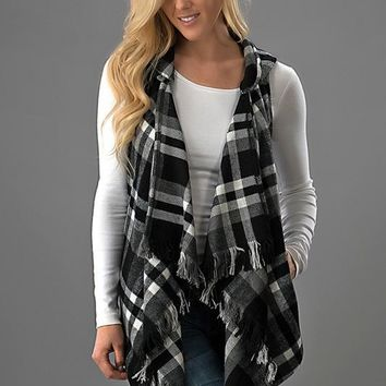 Fringed Plaid Vest - Black and White