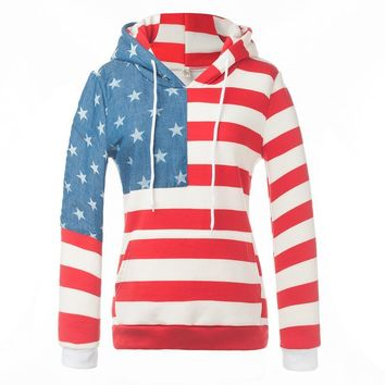 Fashion stripes hoodies flag thick sweater Red