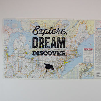 Northeastern United States - Explore. Dream. Discover. Vintage map screen print USA