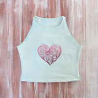 Heart Mint Crop Top-Womens Heart Sleeveless Crop Top-Embroidered Crop Top-Heart Top