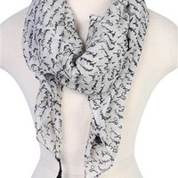 script printed scarf with tassels - debshops.com