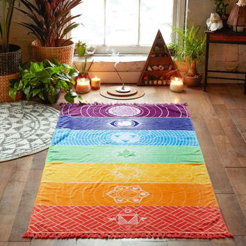 150x70cm Rectangle Tassel Tapestry Printed Bohemian Beach Towel Women Yoga Mat Home Decor Carpet Cover-Up Blank